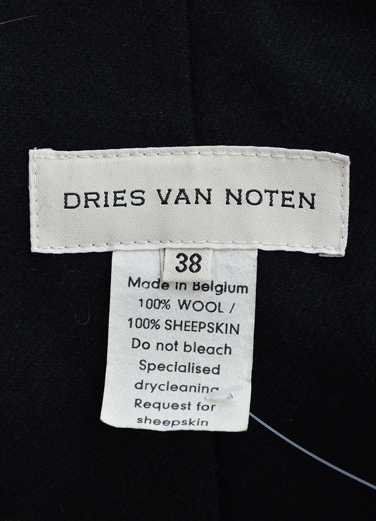 Dries Van Noten Black and Brown Wool Fur Trim Double Breasted Coat Brand