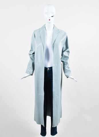 Dusan Powder Blue Leather Long Coat Frontview