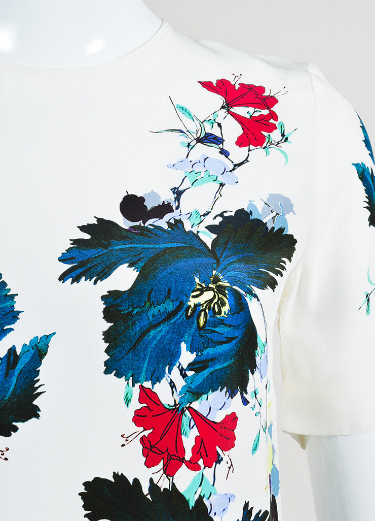 "White and Multicolor Erdem Silk Floral Print ""Armilla"" Short Sleeve Top Detail"