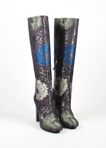 Brown, Green, and Blue Etro Brocade Tall Knee High Boots Frontview