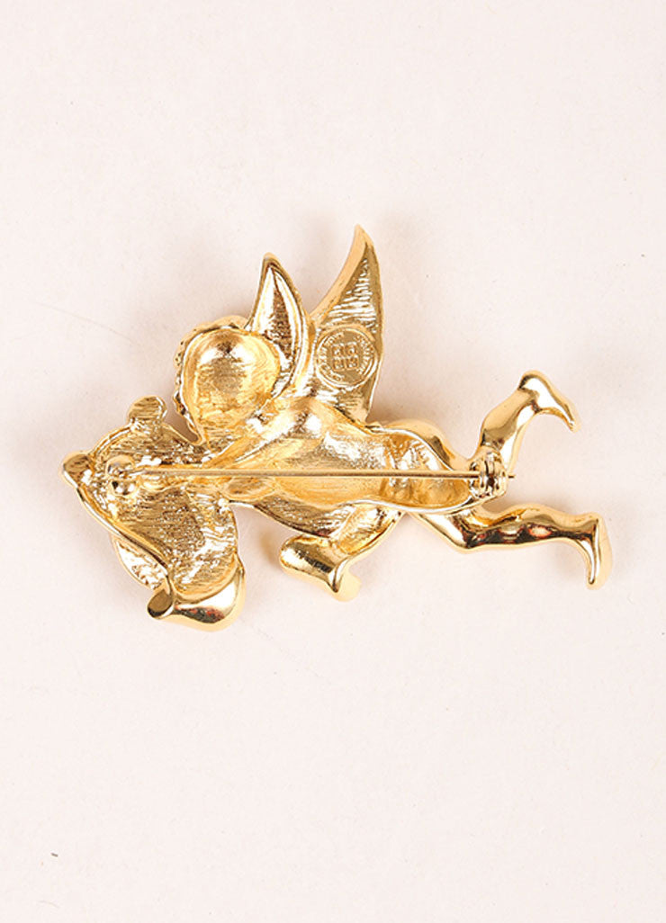 Givenchy Gold Toned Cupid Rhinestone Detail Pin Backview