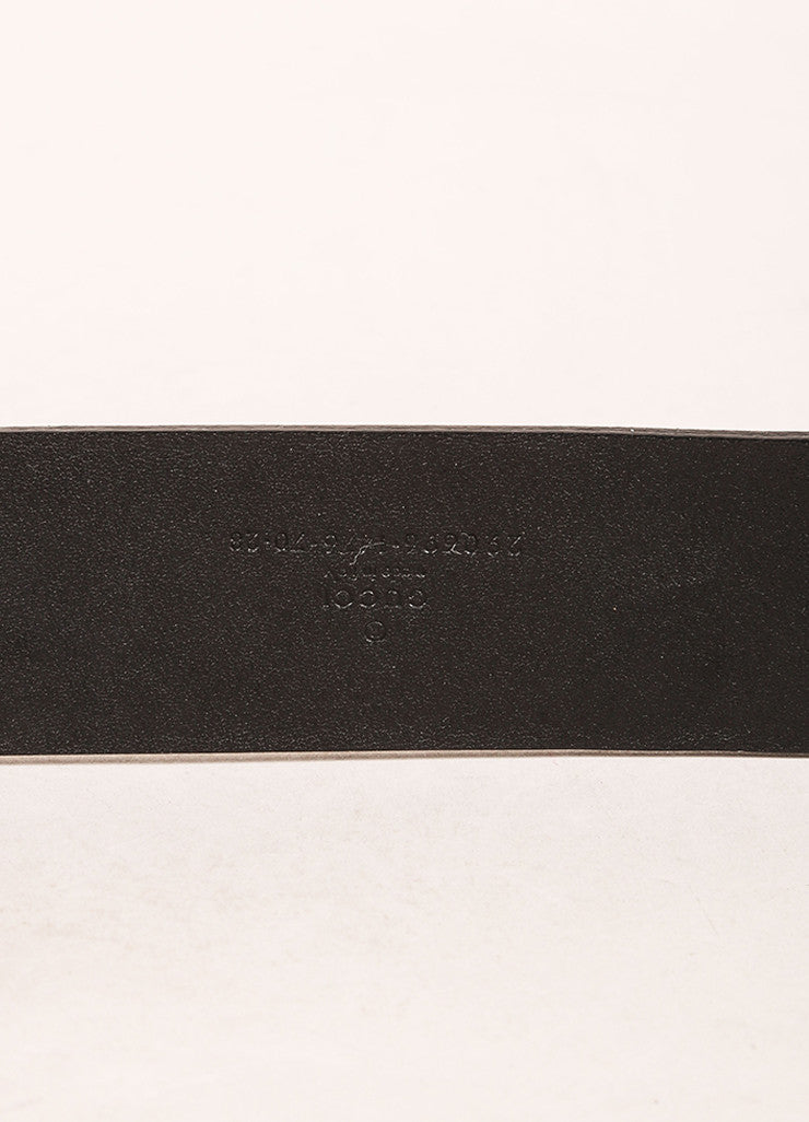 Gucci Black and Gold Toned Enamel Panther Head Leather Belt Brand