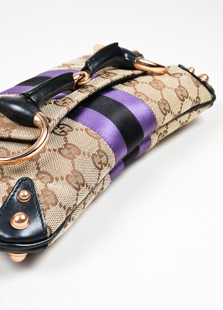 Brown, Black, and Purple Gucci Monogram Canvas Leather Horsebit Chain Strap Clutch Bag Bottom View