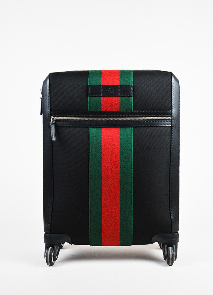 "Gucci Black Stripe Fabric 4 Wheel ""Techno"" Carry On Luggage Suitcase Front"