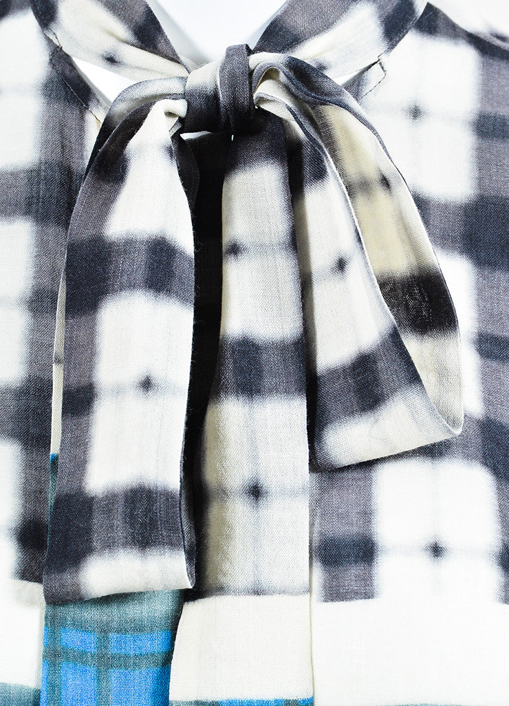 Grey, Blue and White Haider Ackermann Wool Blurred Plaid Buttoned Top Detail