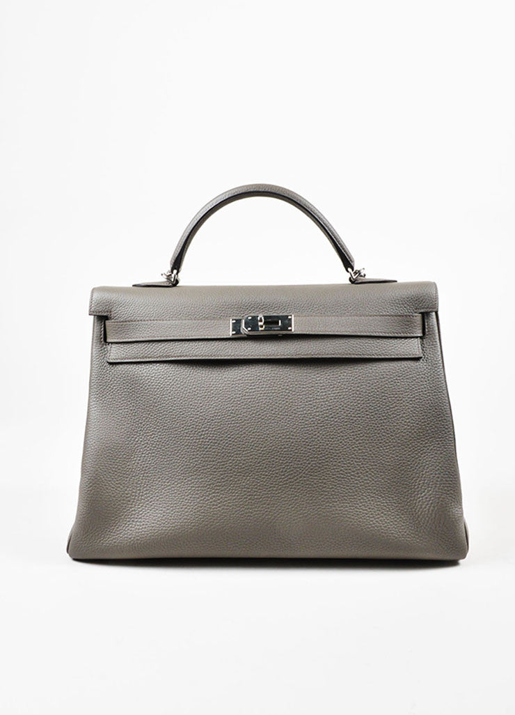 "Hermes 'Etain' Grey Clemence Leather Silver Hardware 40cm ""Kelly"" Handbag Frontview"