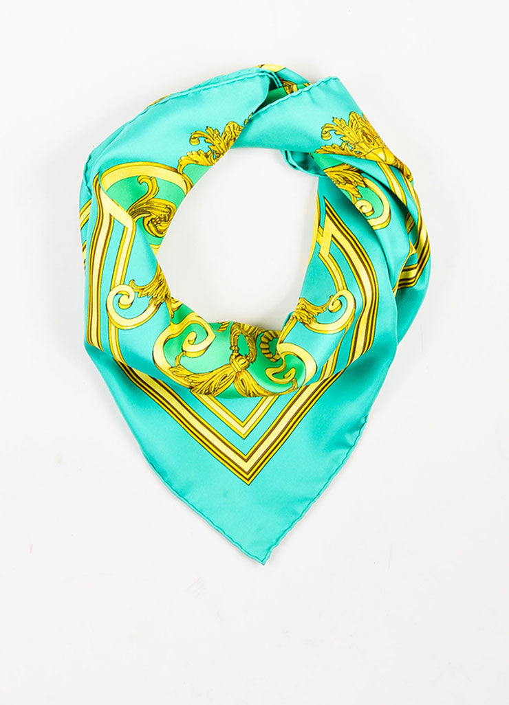 "Hermes Green, White, and Gold Silk Printed ""Les Tuileries"" Scarf Frontview"