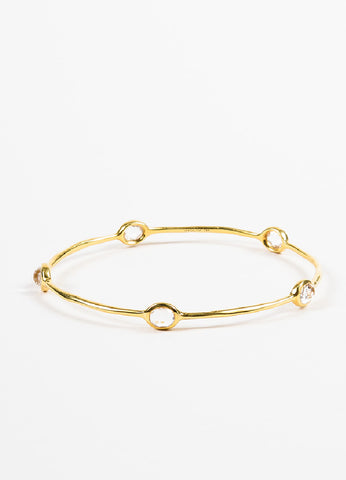 "Ippolita 18K Yellow Gold Quartz ""Rock Candy"" Bangle Bracelet Frontview"