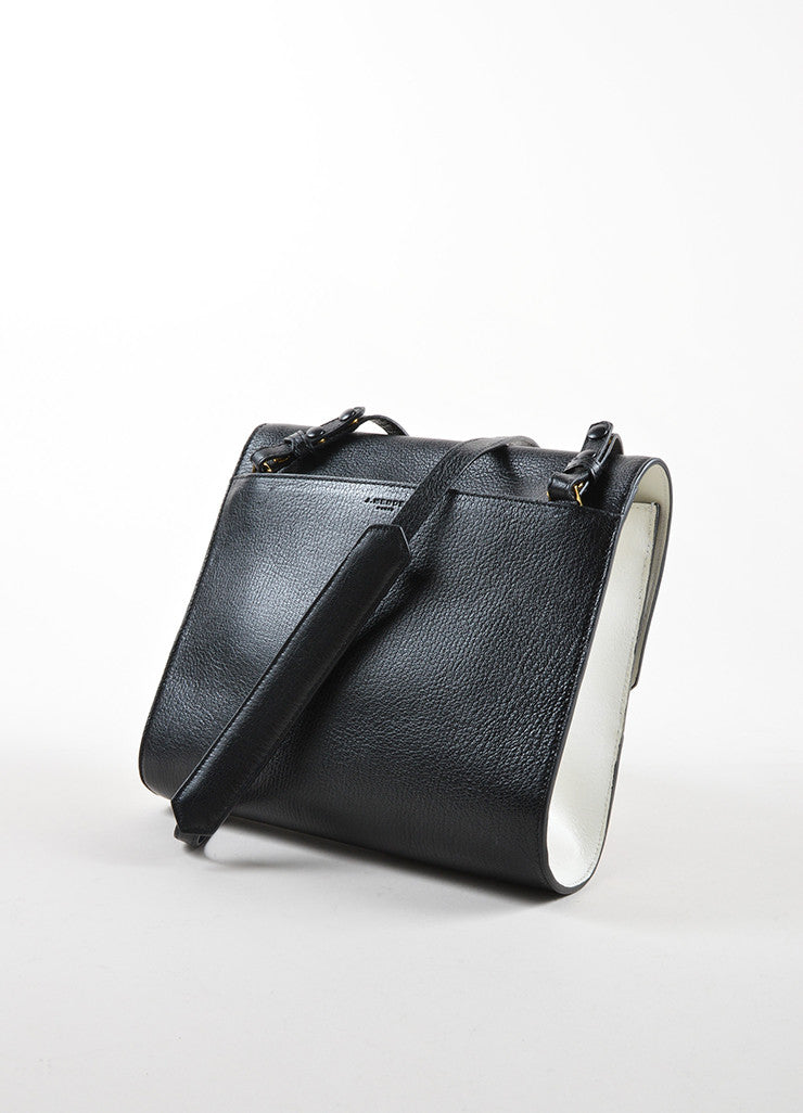 "J. Mendel Black and White Leather Flap Top ""Midi Clutch"" Cross Body Bag Sideview"