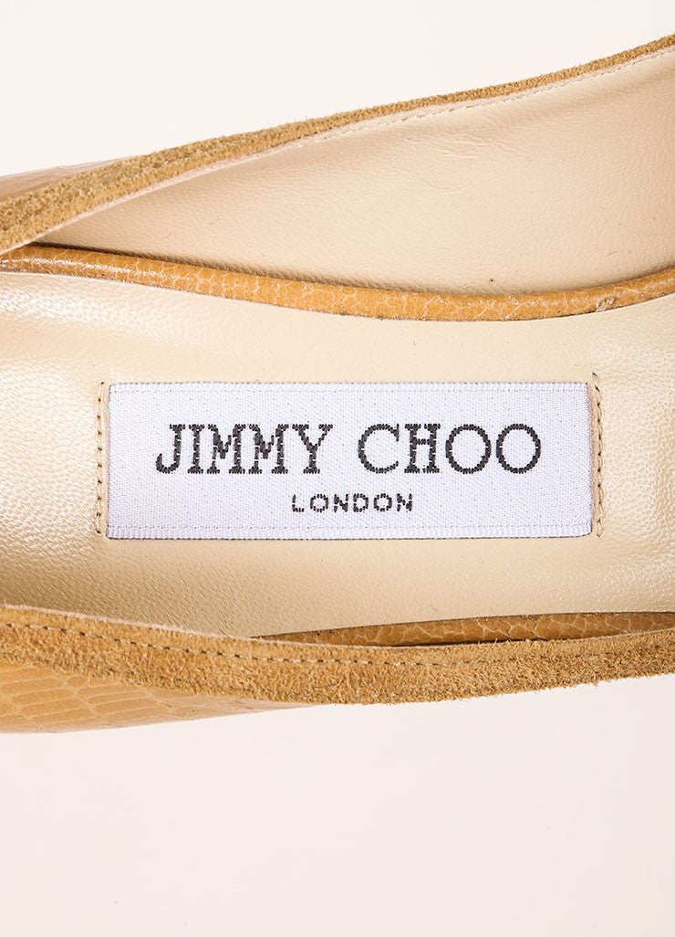 Jimmy Choo New In Box Tan Lizard Embossed Leather Peep Toe Pumps Brand