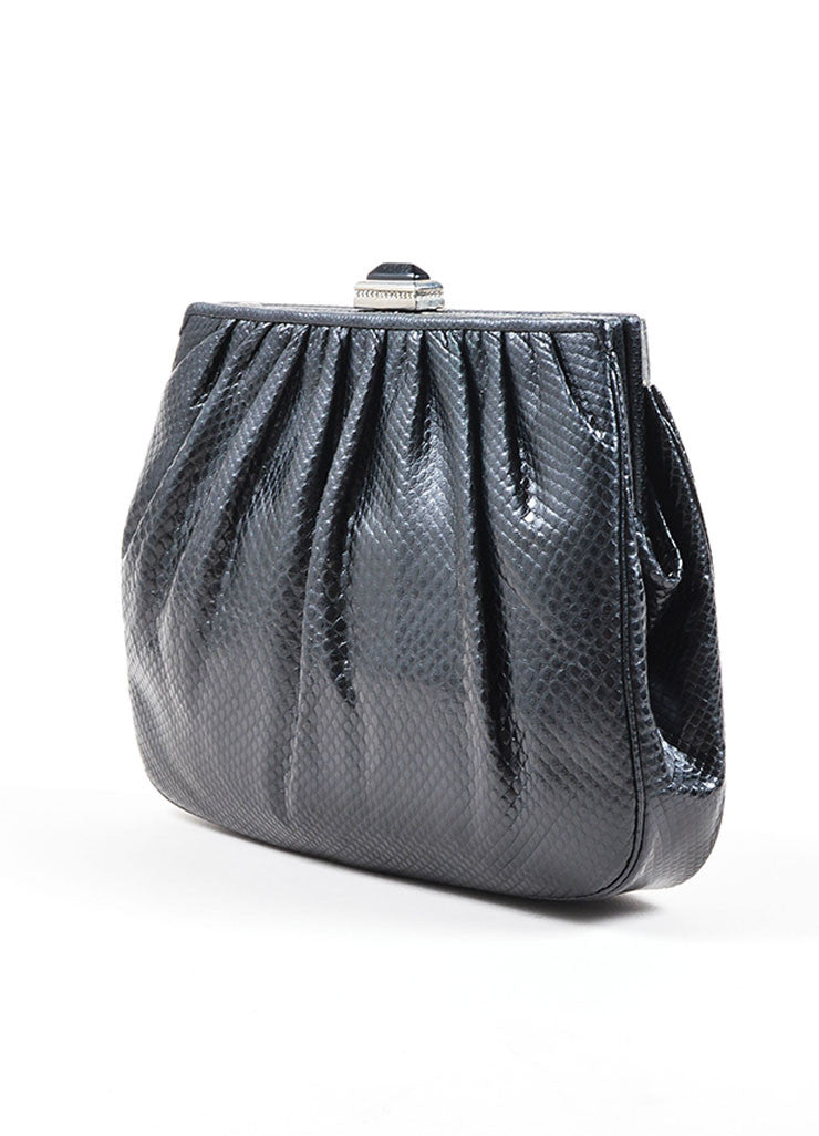 Judith Leiber Black Reptile Leather Jade, Onyx, and Moonstone Deco Chain Strap Bag Sideview