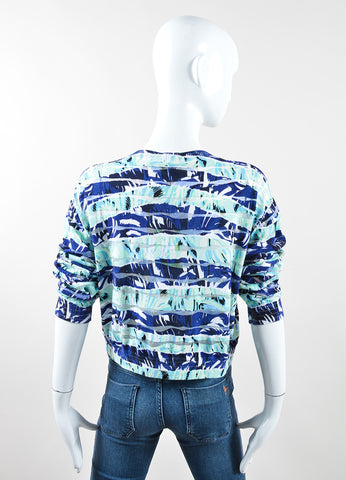 Kenzo Blue and Green Printed Wavy Striped Cropped Sweater Backview