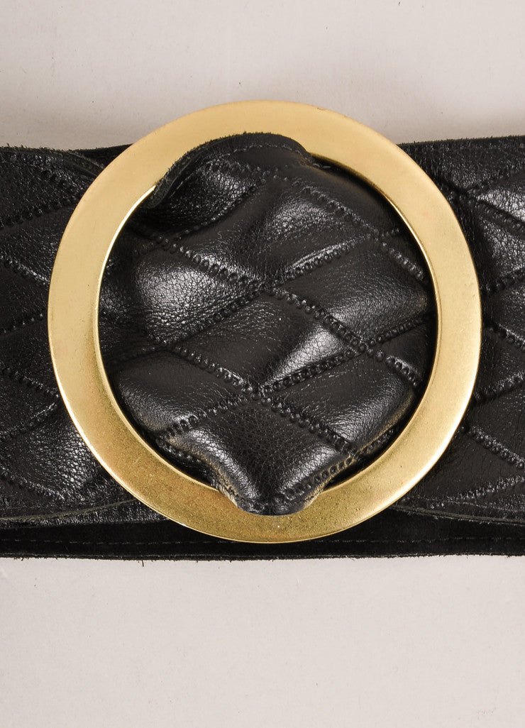 Kristin Kahle Black and Brass Quilted Leather Wide Buckled Waist Belt Detail