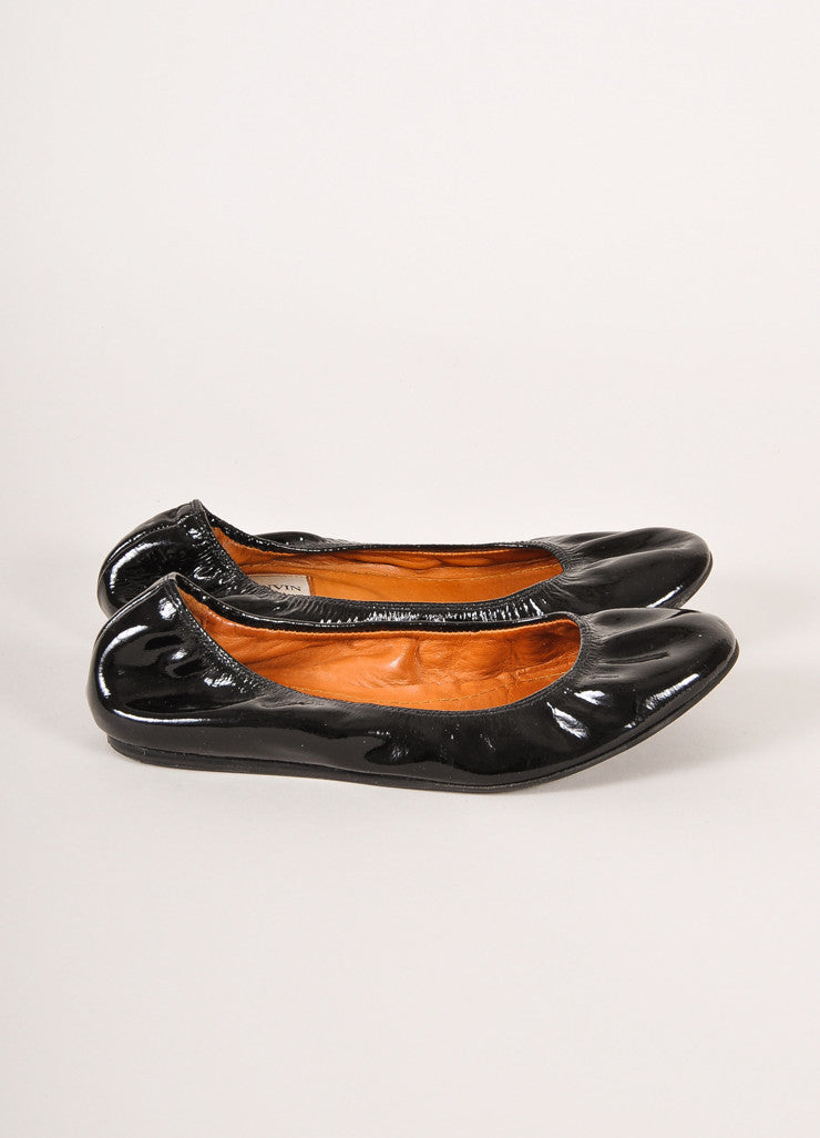 Lanvin Black Patent Leather Ballet Flats Sideview