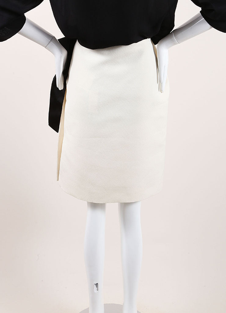 Lanvin Cream and Black Textured Knit Oversized Bow Pencil Skirt Backview