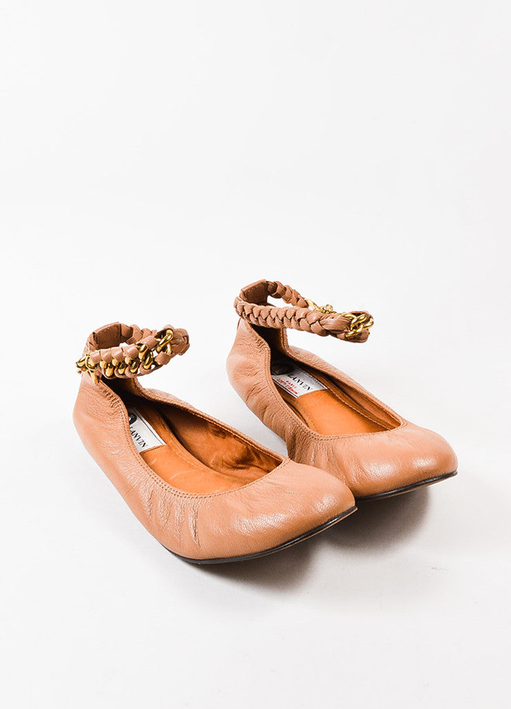 Lanvin Nude Leather Braided Chain Ankle Strap Ballet Flats Frontview
