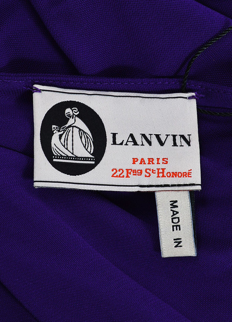 Purple Lanvin Stretch Knit Twisted One Shoulder Maxi Dress Brand