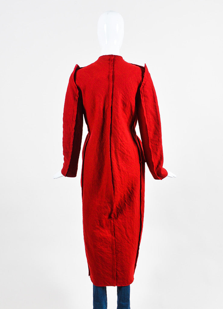 Red Lanvin Wool, Cotton, and Cashmere Pleated Raw Edge Long Duster Coat Backview