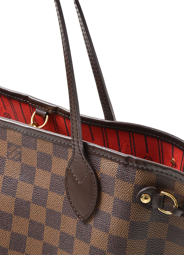 "Louis Vuitton Ebene Brown Damier Checkered ""Neverfull PM"" Tote Bag Detail 2"