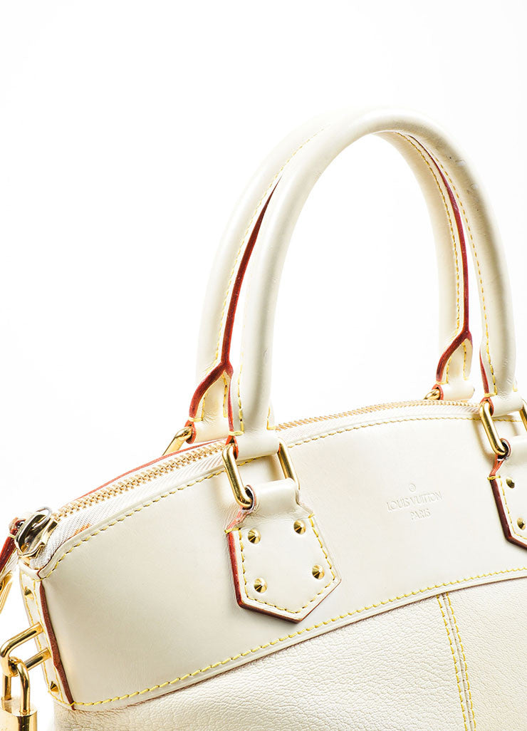 "Cream and Gold Toned Louis Vuitton Suhali Leather Studded ""Lockit PM"" Tote Bag Detail 2"
