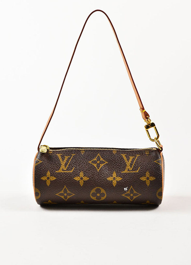 "Louis Vuitton Brown and Tan Coated Canvas and Leather ""Mini Papillon"" Cylinder Bag Frontview"