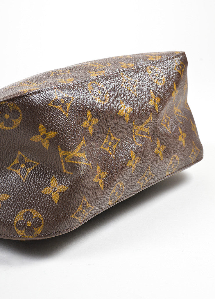"Louis Vuitton Brown and Tan Coated Canvas Leather Monogram ""Looping MM"" Hobo Bag Bottom View"