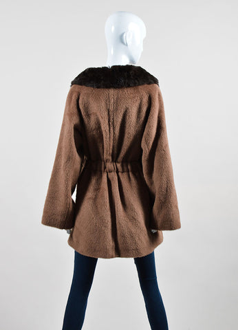 Tan and Brown Malo Mohair, Wool, and Rabbit Fur Collar Belted Coat Backview