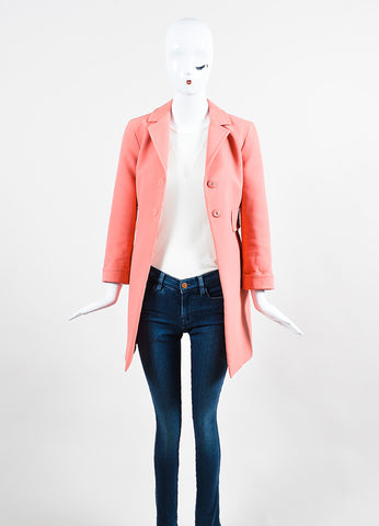 Marc Jacobs Pink Cotton Blend Notch Collar Snap Front Coat Frontview