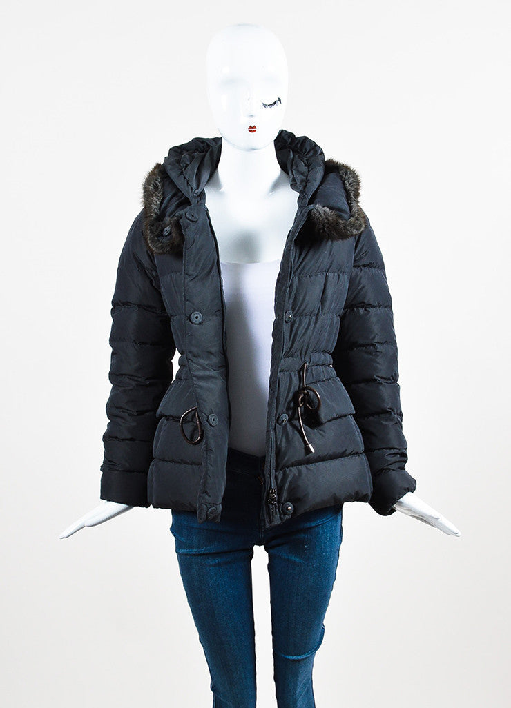 Moncler Grey Nylon Down Fur Collar Hooded Puffer Coat frontview