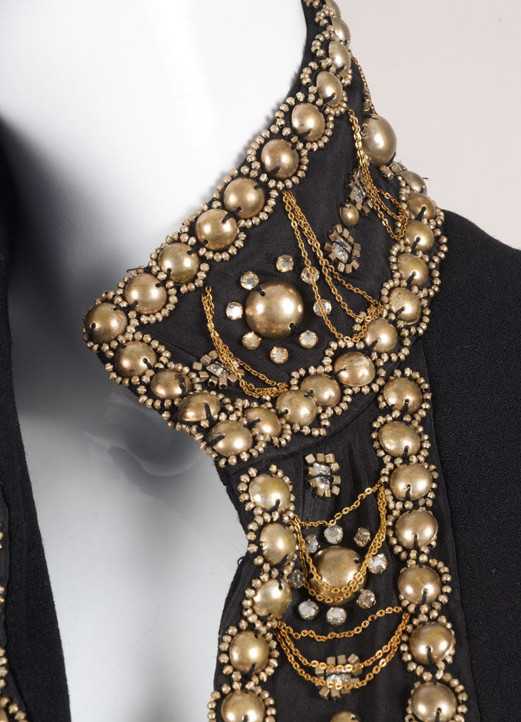 Naeem Khan Black Wool and Silk Blend Beaded Embellished Full Length Coat Detail