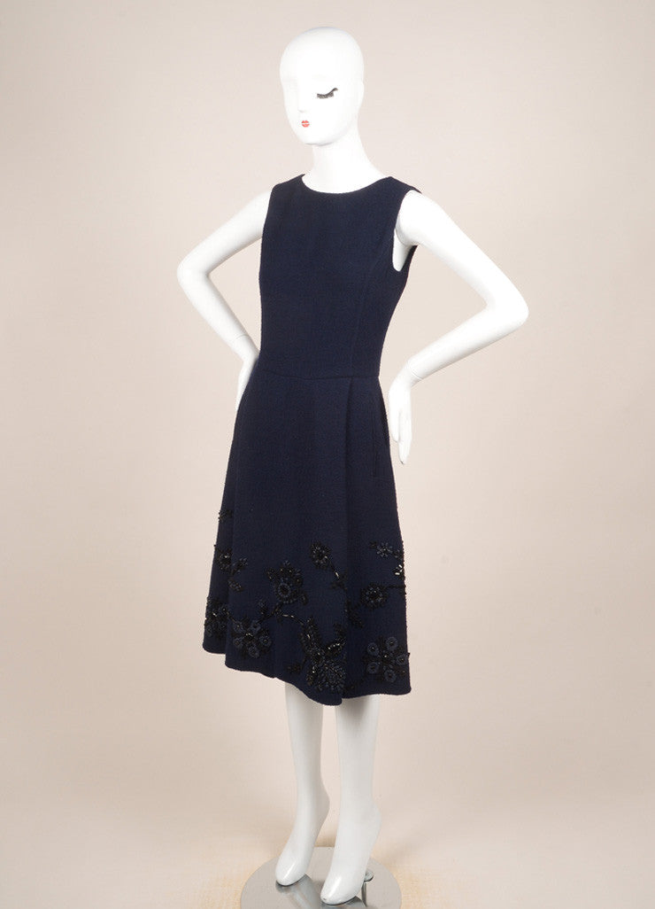 Oscar de la Renta Navy Wool Floral Beaded Embroidered Sleeveless Dress Sideview