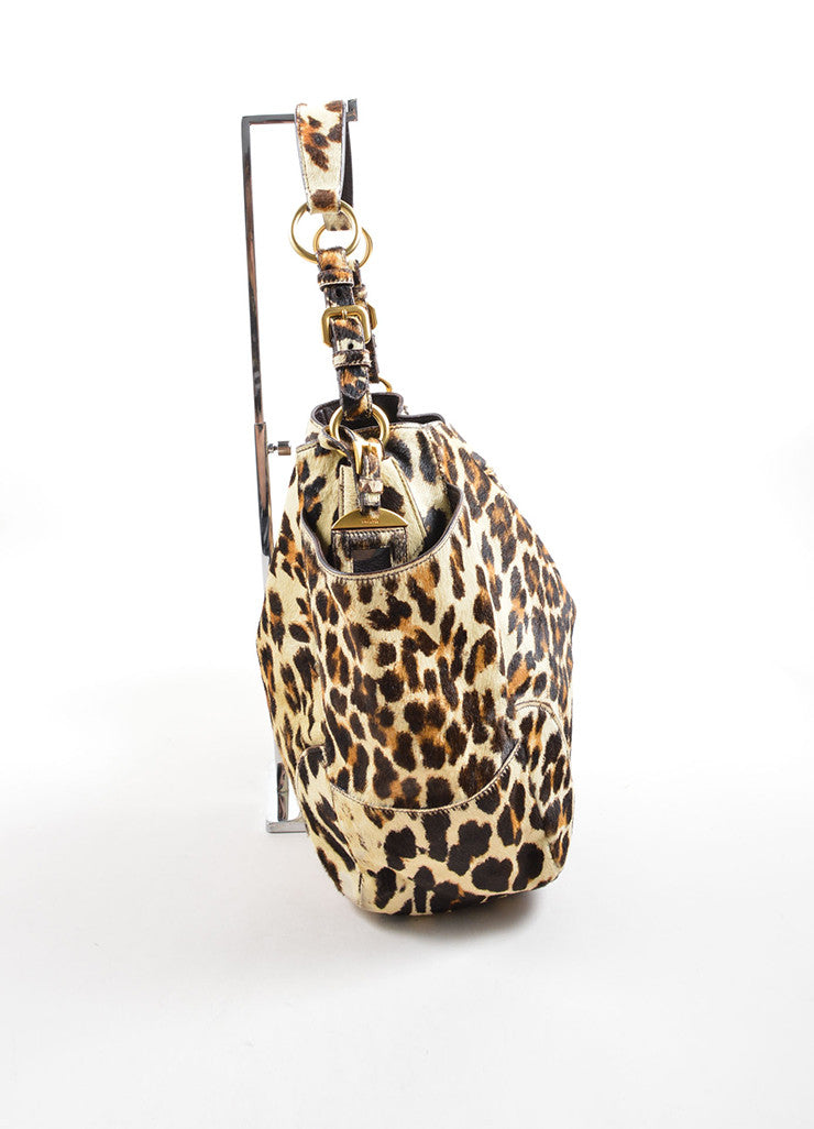 Prada Brown and Tan Leopard Print Pony Hair Tote Bag Sideview