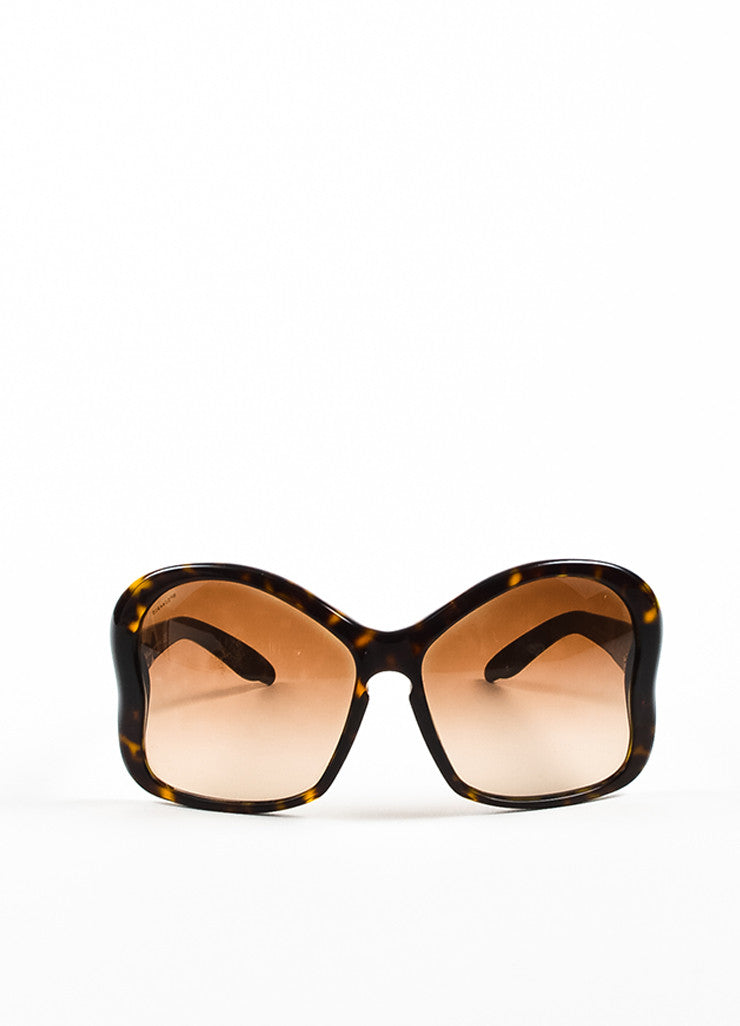 "Brown Prada Tortoise Shell ""Butterfly"" Oversized Sunglasses Front 2"