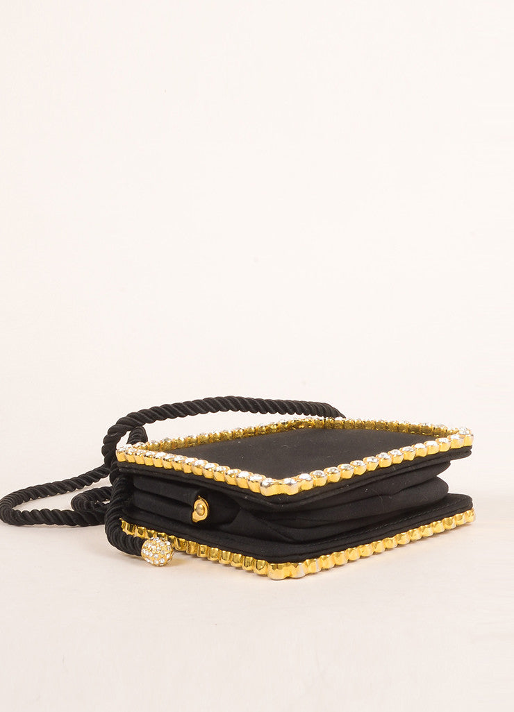 Kenneth Jay Lane Black and Gold Toned Rhinestone Bow Clasp Square Clutch Bag Bottom View