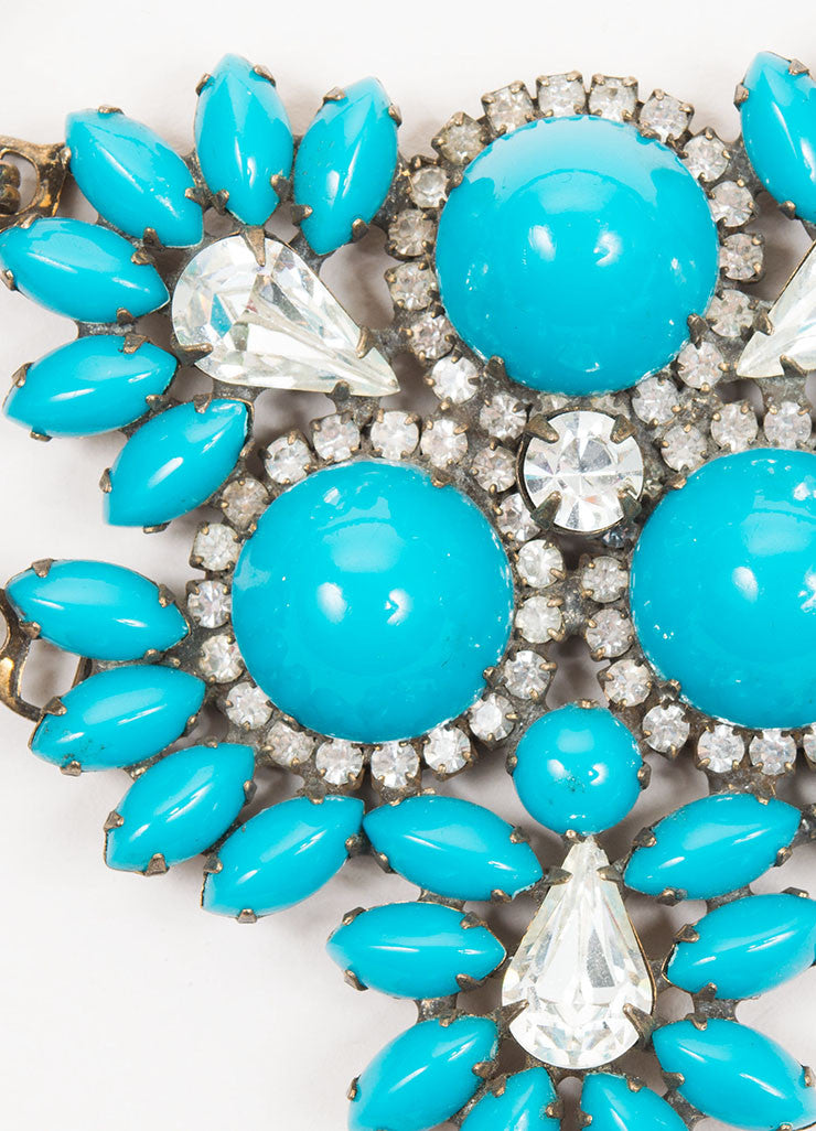 Brass Toned and Teal Gem Rhinestone Crystal Kenneth Jay Lane Bib Necklace Detail