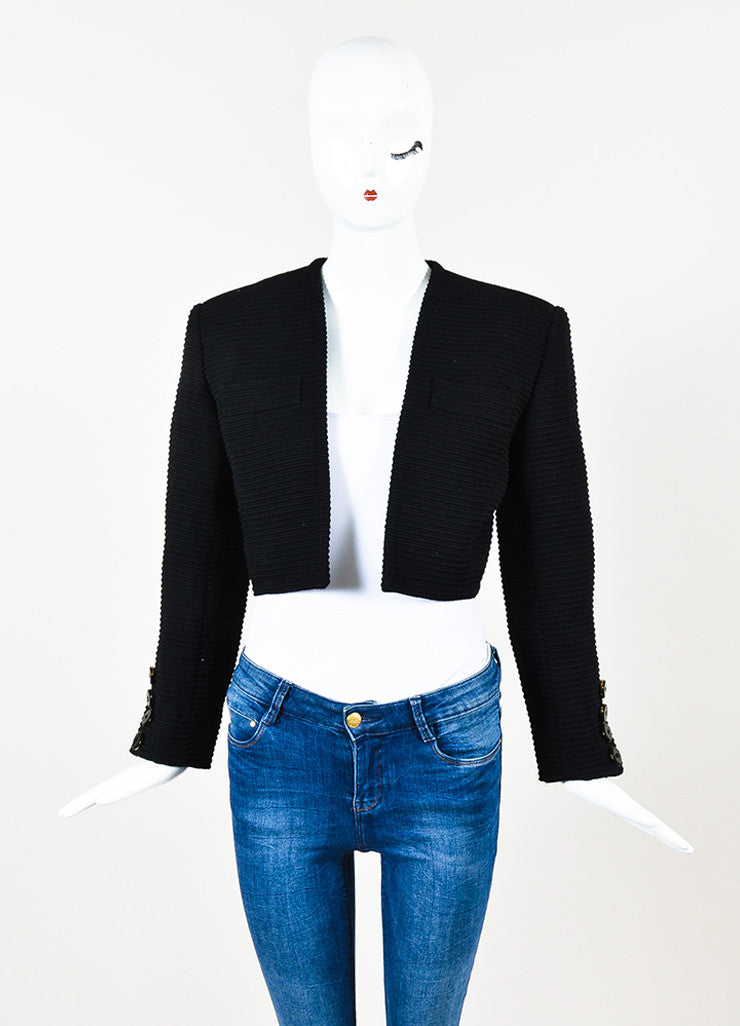 Saint Laurent Rive Gauche Black Ribbed Open Front Cropped Jacket frontview