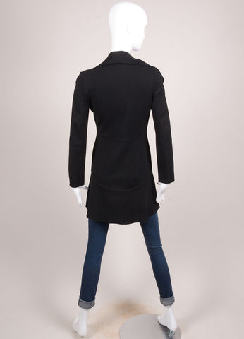 Valentino Black Crepe Ruffle Long Sleeve Jacket Backview