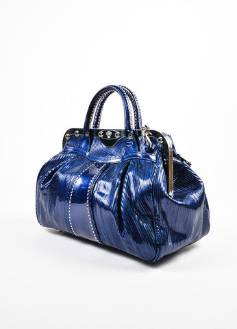 Versace Blue Stitched Patent Leather Frame Satchel Shoulder Bag Back