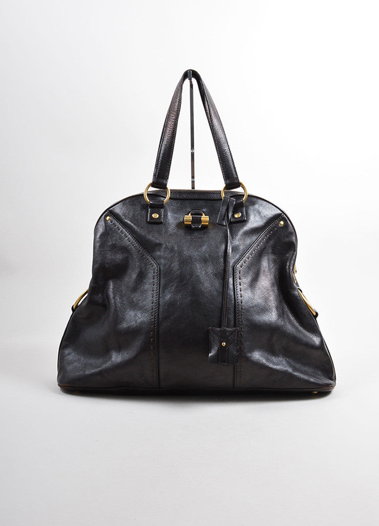 "Yves Saint Laurent Dark Brown Leather ""Muse"" Tote Bag Frontview"
