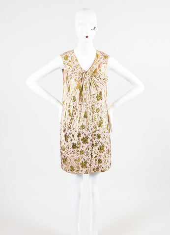 3.1 Philip Lim Pink and Gold Lurex Silk Floral Jacquard Sleeveless Dress Frontview