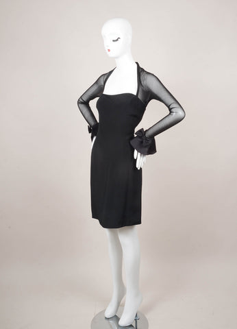 Black Long Sleeve Bow Detail Dress With Mesh Panels