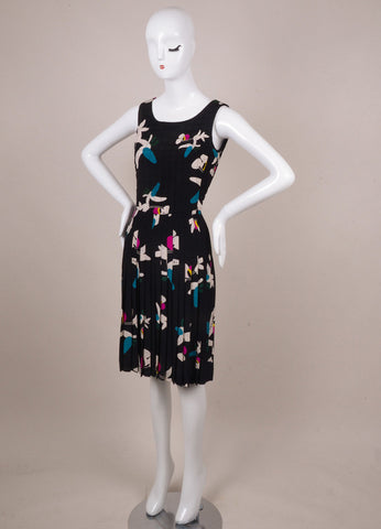 Chanel Black, White, and Teal Floral Print Silk Quilted Dress Sideview