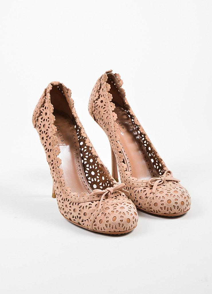 Blush Alaia Suede Floral Laser Cut Out Perforations Round Toe Pumps Frontview