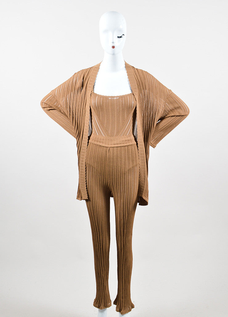 Camel Tan Knit Alaia Bodysuit, Wide Leg Pants, and Cardigan Three Piece Set Frontview