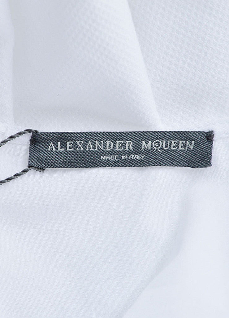 Alexander McQueen White Textured Peplum Short Sleeve Top Brand