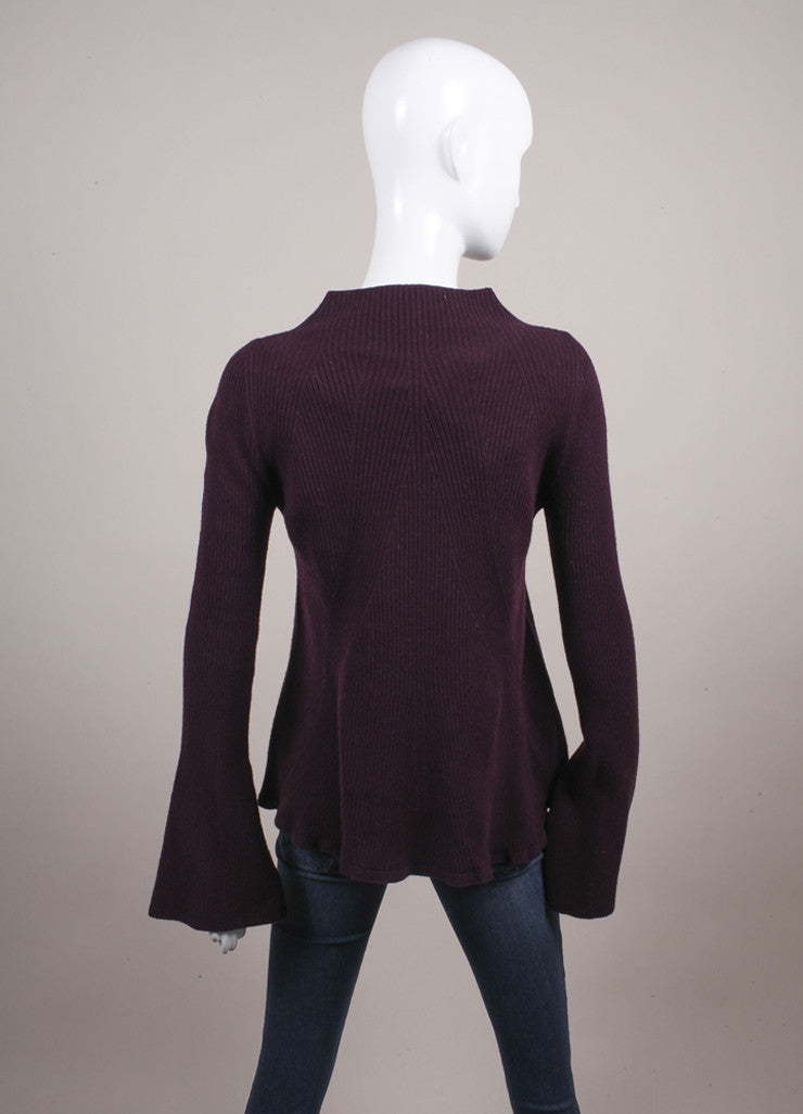 Alexander McQueen New With Tags Purple Wool and Cashmere Mock Neck A-Line Sweater Backview