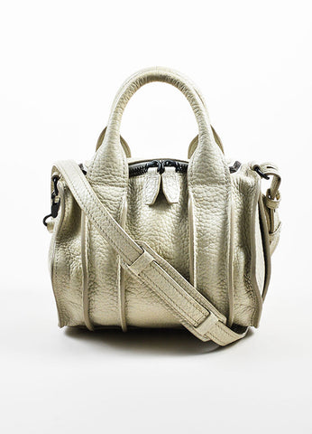 "Grey ""Chalk"" Black Studded Alexander Wang ""Rockie"" Satchel Cross Body Bag Frontview"