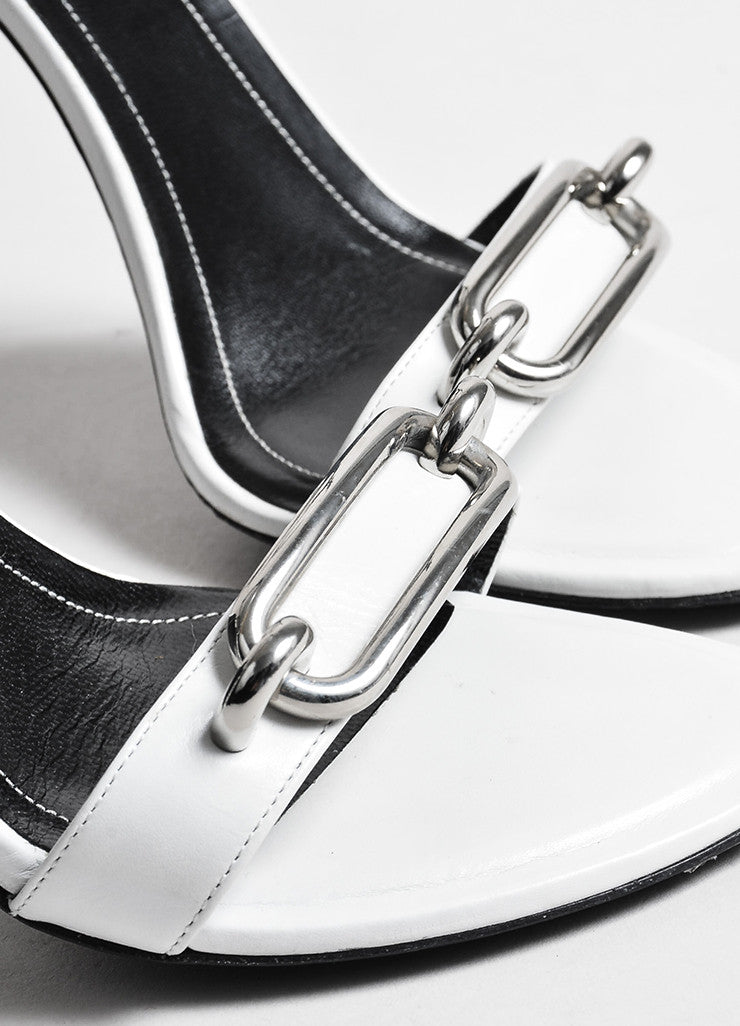 "White and Silver Toned Balenciaga Leather Open Toe ""Jacquelyn"" Sandals Detail"