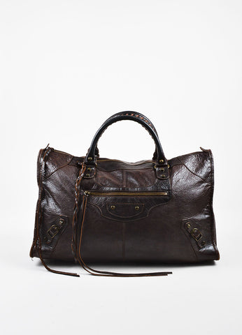 "Balenciaga Brown Distressed Leather Classic Studded ""Classic Work"" Tote Bag Frontview"