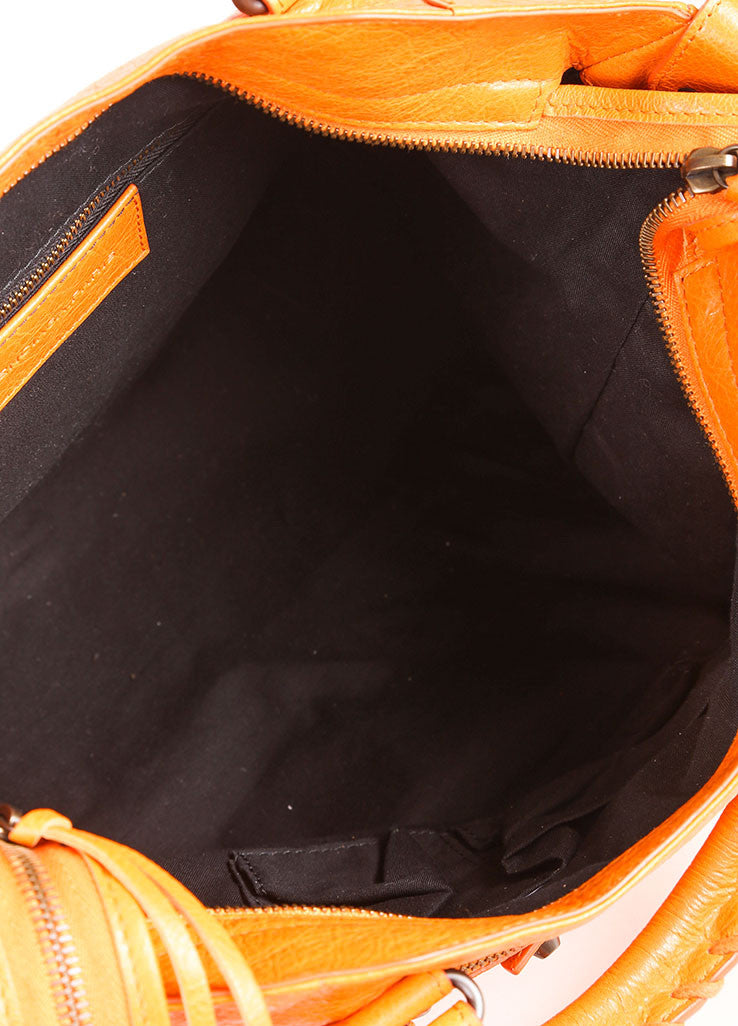 "Balenciaga New With Tags Orange Stud Accent Crossbody ""Velo"" Satchel Bag Interior"